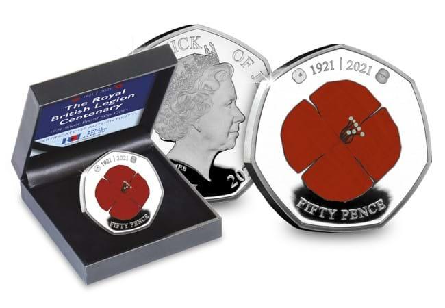 The RBL Centenary Heritage Poppy Silver 50p