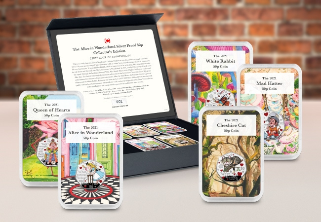 The Alice in Wonderland Silver Proof 50p Capsule Edition Set