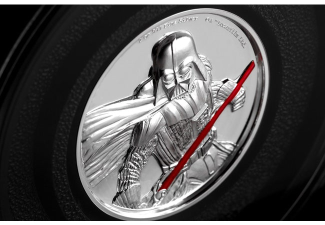 The STAR WARS High Relief Darth Vader 2oz Silver Coin