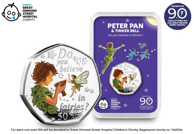 The 2020 Peter Pan and Tinker Bell Silver 50p Capsule Edition