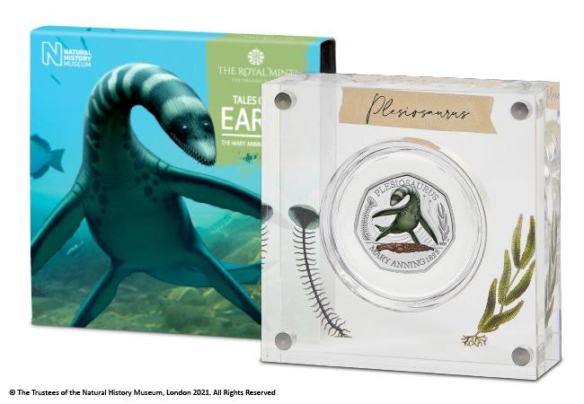 The Plesiosaurus Coloured Silver Proof 50p