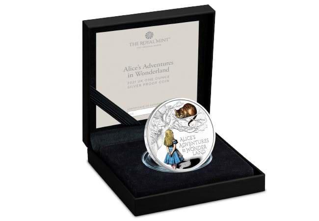 The UK 2021 Alice's Adventures in Wonderland 1oz Silver Coin